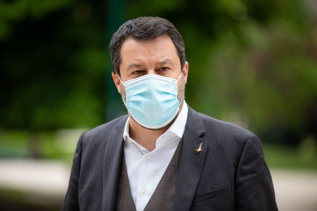 Matteo Salvini has lunch at Bar Bianco during the first day of reopening of Bars and Restaurants in the...