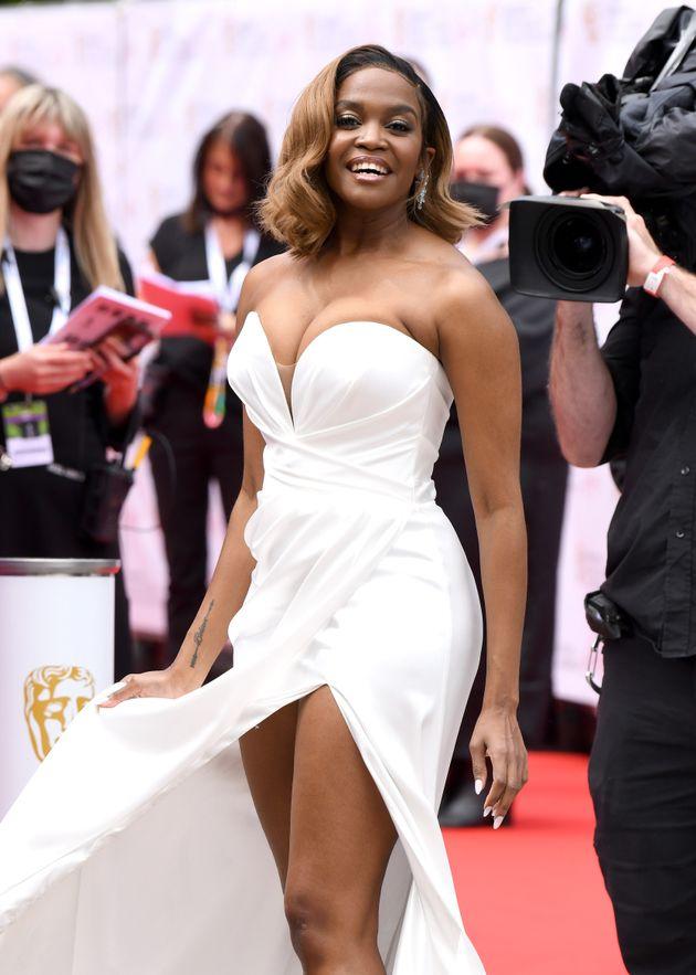 LONDON, ENGLAND - JUNE 06: Oti Mabuse arrives for the Virgin Media Bafta TV Awards at Television Centre...