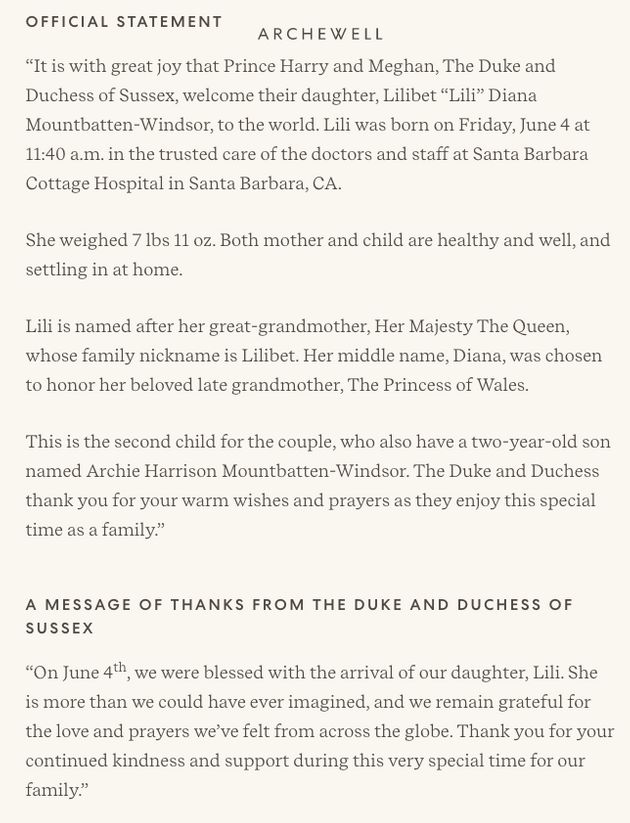 The official statement from Meghan and Harry published on the Archewell