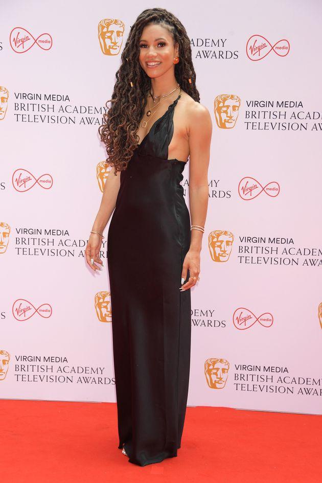 LONDON, ENGLAND - JUNE 06: Vick Hope arrives at the Virgin Media British Academy Television Awards 2021...