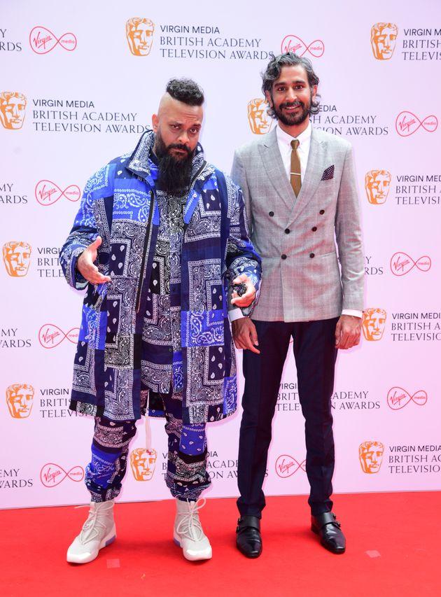 Guz Khan (left) and Arslan Ashraf Moghal arrive for the Virgin Media BAFTA TV awards at the TV Centre,...