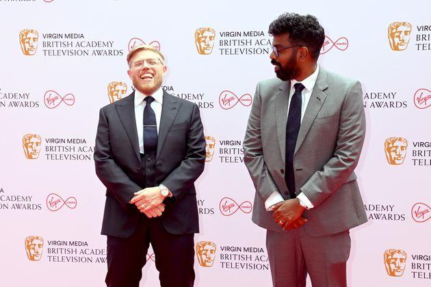 LONDON, ENGLAND - JUNE 06: Rob Beckett and Romesh Ranganathan attend the Virgin Media British Academy...