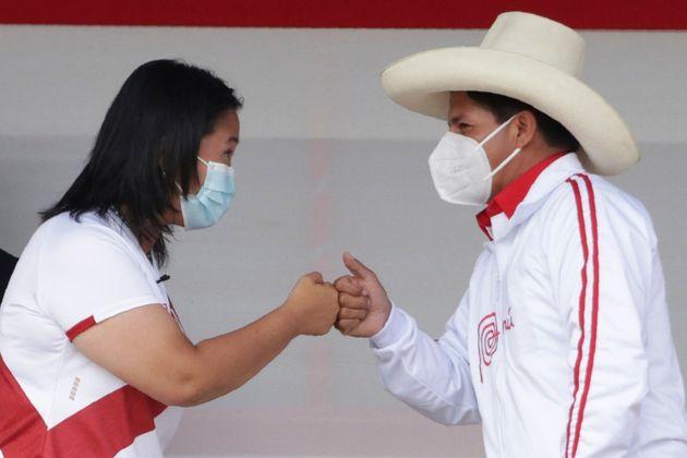 Los candidatos a la presidencia de Perú, Pedro Castillo y Keiko