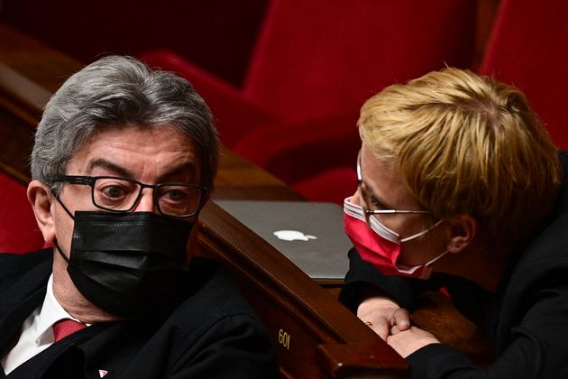 Jean-Luc Mélenchon et Clémentine Autain photographiés le 11 mai à l'Assemblée nationale