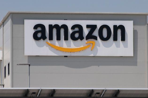 TORRAZZA PIEMONTE, ITALY - JUNE 03: General view of Amazon logo on Amazon Headquarter on June 03, 2021...