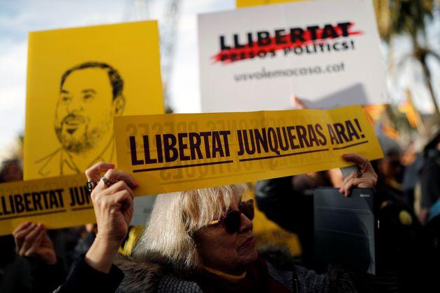 Protesta por la libertad de Oriol Junqueras en Barcelona, en enero de