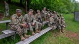 03 June 2021, Rhineland-Palatinate, Baumholder: US soldiers sit on benches during an exercise at the Baumholder military training area. (Photo by Harald Tittel/picture alliance via Getty Images)
