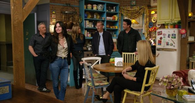 The cast of Friends during the opening moments of the