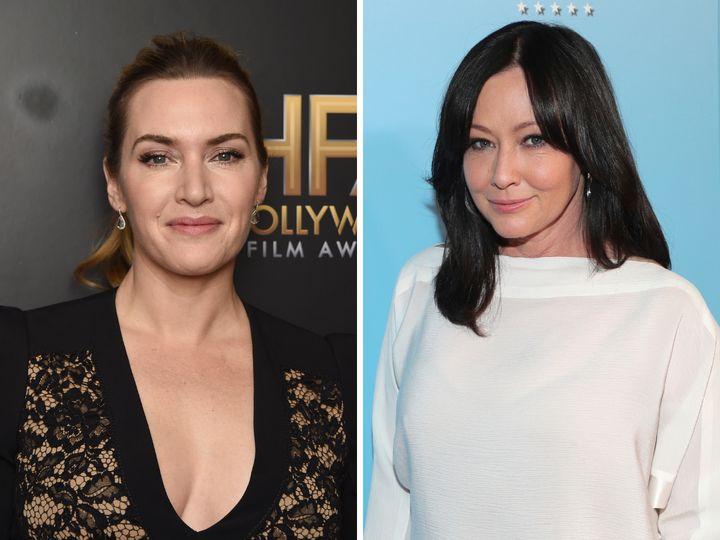 Las actrices Kate Winslet y Shannen Doherty, quienes recientemente han protagonizado alegatos en favor de las mujeres reales.
