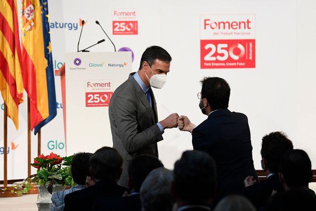 Pedro Sánchez y Pere Aragonès este lunes en