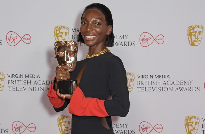 """Michaela Coel, winner of the Best Actress award for """"I May Destroy You,"""" poses in the Winners Room at the British Academy Tel"""