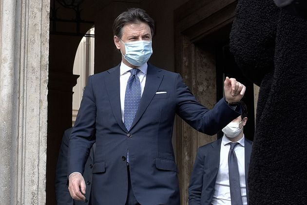 ROME, ITALY - FEBRUARY 04: Outgoing Prime Minister Giuseppe Conte leaves Palazzo Chigi for a press conference...