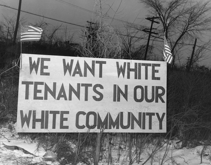 A sign seeking to prevent nonwhite people from moving into a federal governmental housing project in Detroit, in 1942.