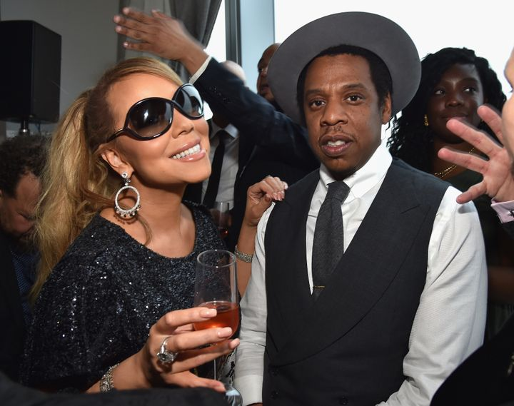 Mariah Carey and Jay-Z attend a Roc Nation event together in 2018.