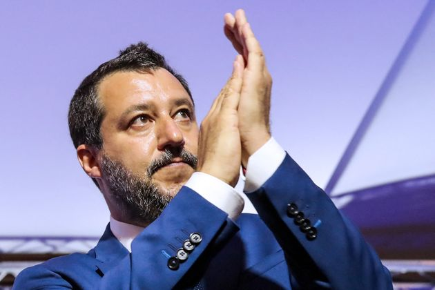 Italian Federal Secretary of Lega party and former Deputy Prime Minister of Italy Matteo Salvini applauds...