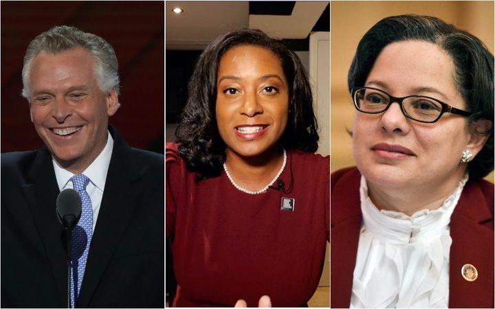Former Gov. Terry McAuliffe, left, is poised to defeat former Del. Jennifer Carroll Foy, center, and state Sen. Jennifer McCl