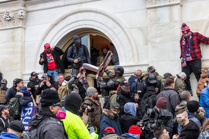 Supporters of former President Donald Trump breach the U.S. Capitol on Jan. 6.
