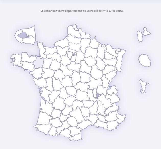 Carte interactive faite par le ministère de