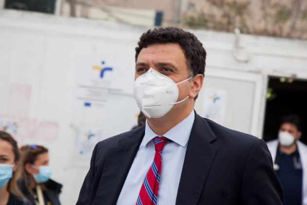 Vasilis Kikilias, minister of health visits Elaionas refugee camp in Athens, Greece on April 16, 2021....