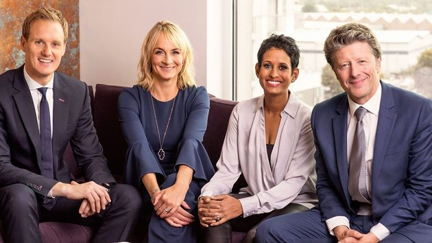 Louise with co-hosts Dan Walker, Naga Munchetty and Charlie