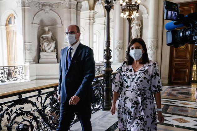 Jean Castex et Anne Hidalgo lors de leur rencontre à la mairie de Paris le 22 juillet