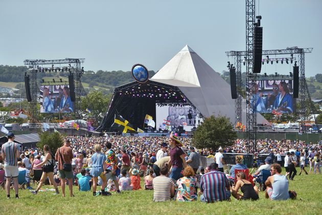 Glastonbury's iconic Pyramid Stage tent pictured in