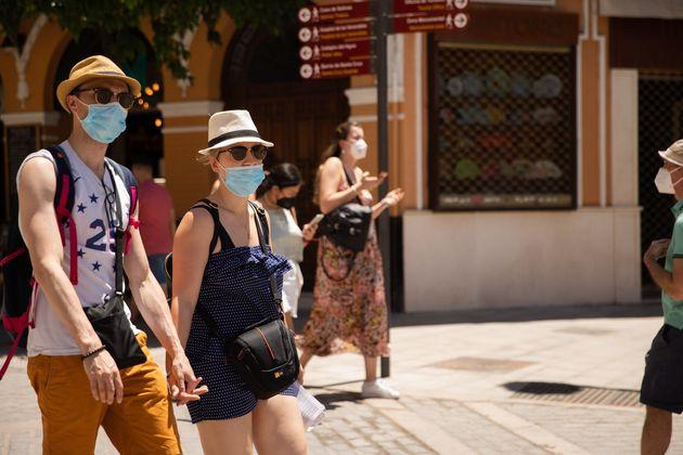 Turistas en el centro de
