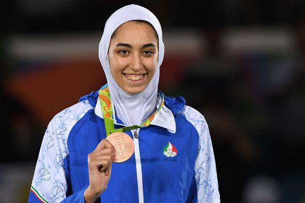 難民選手団メンバーに選ばれたキミア・アリザデ選手。2016年の五輪リオデジャネイロ大会のテコンドー種目で銅メダルを獲得し、イラン女性初の五輪メダリストになった。