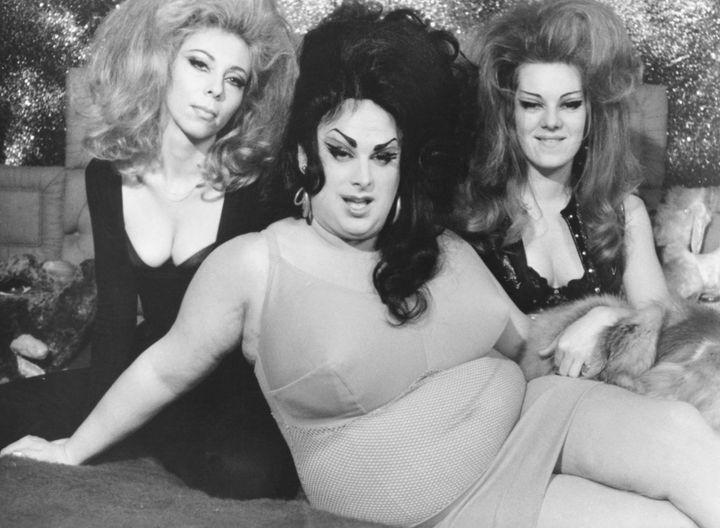 "Divine (center) in 1974's John Waters film ""Female Trouble."""