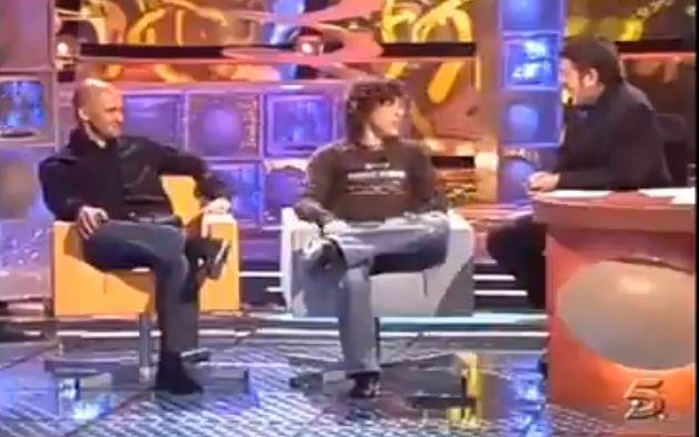 Fernando Alonso y Antonio Lobato en Telecinco en el año