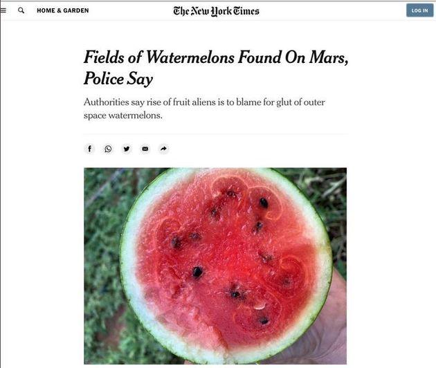 Οι New York Times δημοσίευσαν κατά λάθος μία πλάκα για χωράφια με καρπούζια στον