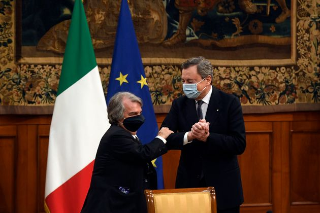 The Italian Premier Mario Draghi and the Minister of Public Administration Renato Brunetta during the...