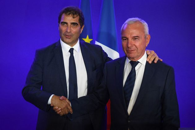 Christian Jacob et Jean Leonetti lors de l'élection du maire de Provins à la présidence des Républicains,...