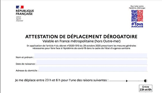 Capture d'écran de la nouvelle attestation de déplacement mise en ligne sur le site du ministère de l'Intérieur...
