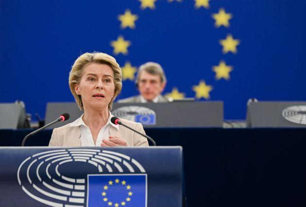 BRUSSELS, BELGIUM - JUNE 08: EU Commission President Ursula von der Leyen makes a speech during the European...