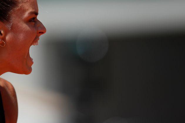 9 Ιουνίου 2021. Η Μαρία Σάκκαρη προκρίνεται στον ημιτελικό του Ρολάν Γκαρός αποκλείοντας την Ίγκα Σβιάτεκ από την Πολωνία. REUTERS/Gonzalo Fuentes