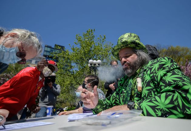 Marijuana activists hand out free joints to vaccinated New Yorkers on on April 20, 2021 in New York City....