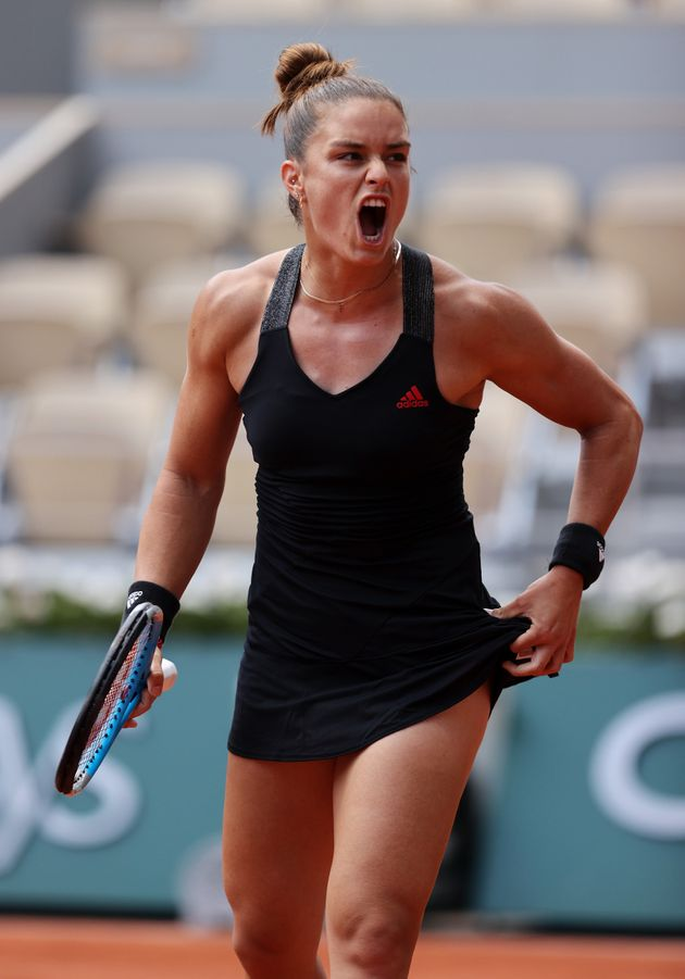 PARIS, FRANCE - JUNE 09: Maria Sakkari of Greece celebrates during her Ladies Singles Quarter-Final match against Iga Swiatek of Poland on Day Eleven of the 2021 French Open at Roland Garros on June 09, 2021 in Paris, France. (Photo by Clive Brunskill/Getty Images)