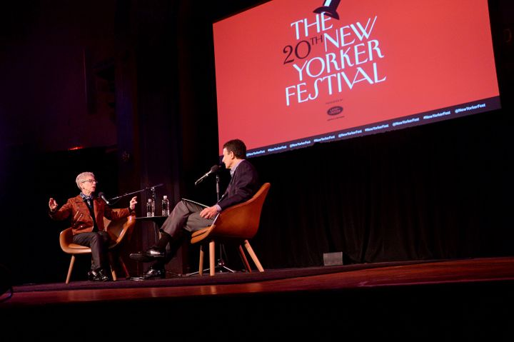 NPR's Terry Gross talks with New Yorker editor David Remnick at the 2019 New Yorker Festival in New York City. The staff unio
