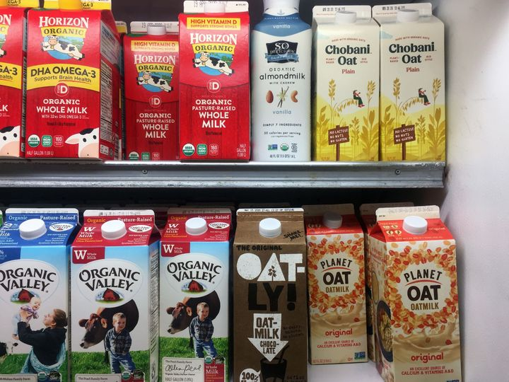 """Look carefully at nutrition labels. For instance, Blue Diamond's <a href=""""https://www.bluediamond.com/brand/almond-breeze/almondmilk/original"""" target=""""_blank"""" role=""""link"""" data-ylk=""""subsec:paragraph;itc:0;cpos:__RAPID_INDEX__;pos:__RAPID_SUBINDEX__;elm:context_link"""">Almond Breeze contains 7 grams of added sugars</a>."""