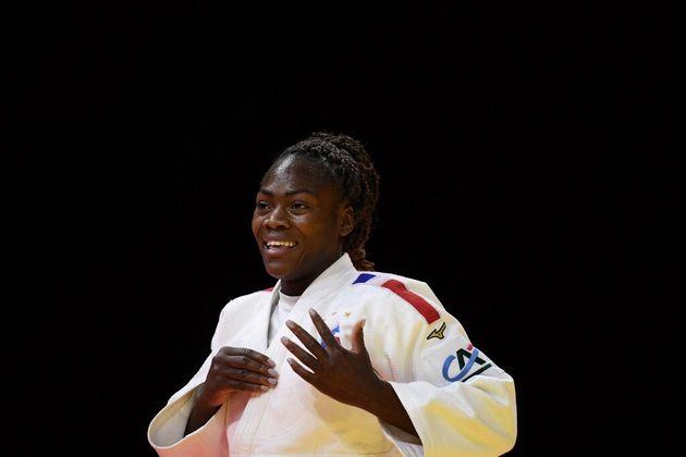 Clarisse Agbegnenou lors de sa 5e victoire aux championnats du monde de judo, à Budapest, le 9 juin