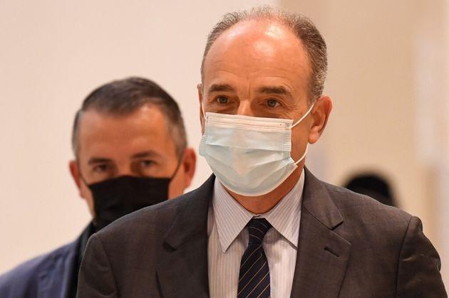 Jean-François Copé arrivant au procès Bygmalion, à Paris, le 9 juin