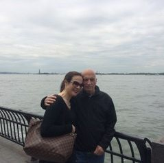 The author and her dad beside the Hudson River in May 2016.