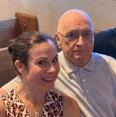 The author and her dad at her niece's wedding rehearsal in St. Louis in August 2019.