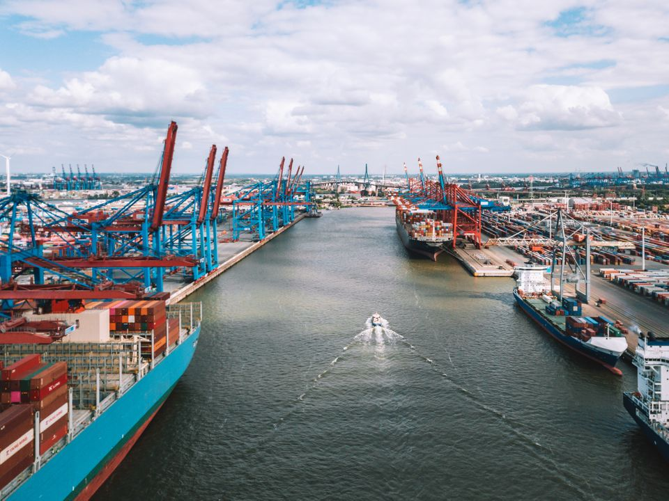 wide aerial panoramic view overCargo container terminal in Hamburg