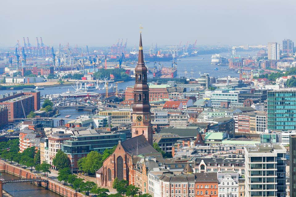 Aerial view of Hamburg port in a summer