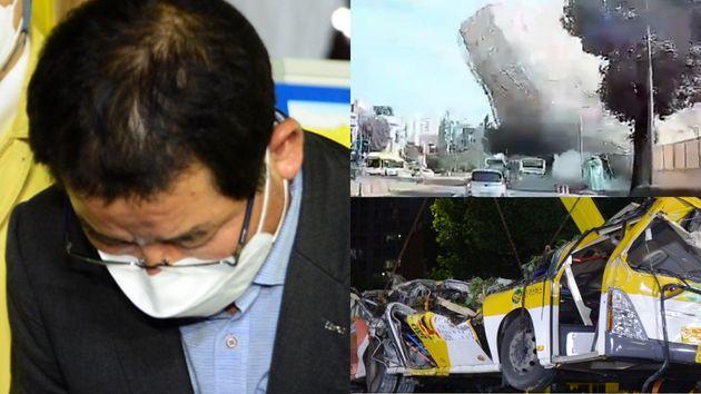 사과하는 HDC현대산업개발 권순호 대표이사(좌), 붕괴 당시 블랙박스 영상 캡처(우 상단), 해당 버스(우