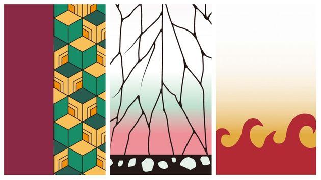 商標登録された模様(左から冨岡義勇、胡蝶しのぶ、煉獄杏寿郎の着物の柄)