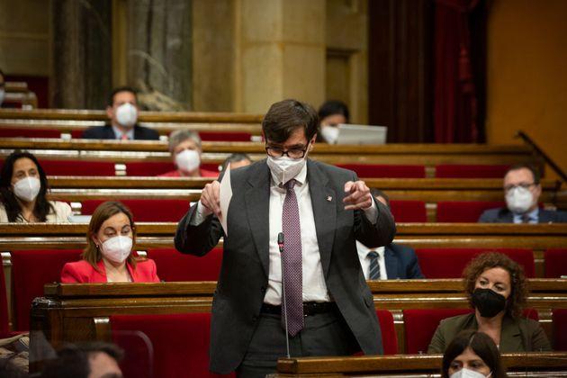 El portavoz del PSC en el Parlament de Cataluña, Salvador Illa, el pasado 2 de junio en la Cámara