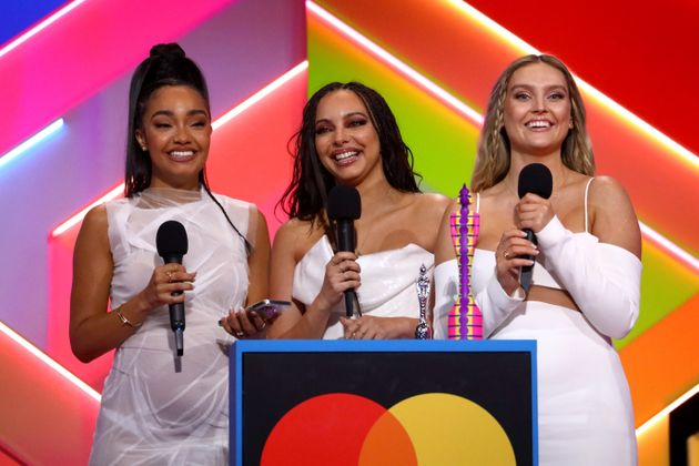 Little Mix on stage at the 2021 Brit